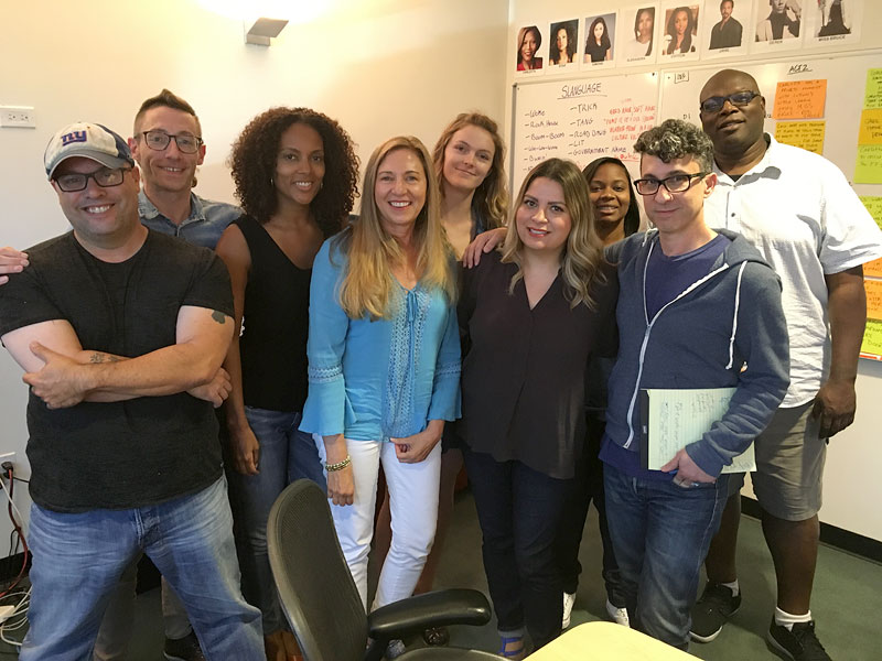 Show visit to the Fox series Star. [Left to right] Gerald Cuesta, Tom Westfall, Jamila Daniel, WGAW's Ann Farriday, Arabella Anderson, Gladys Rodriguez, Kimberly Ann Harrison, Tom Donaghy, and Charles Murray.